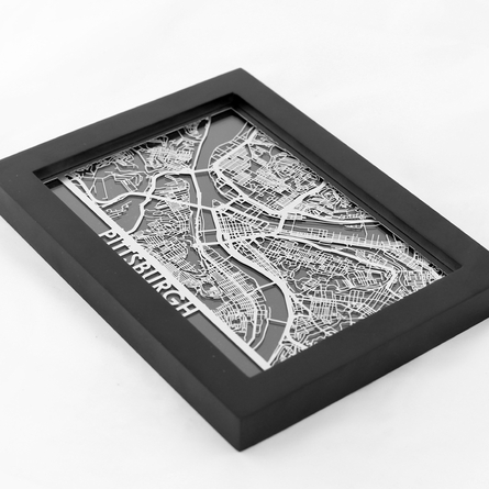 Pittsburgh Stainless Steel Framed Map