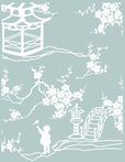 Pixie Pagoda Aqua Fabric by the Yard