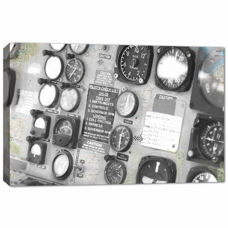 Plane Controls Canvas Reproduction