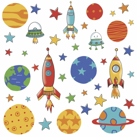 Planets and Rockets Wall Decals