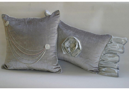 Platinum & Diamonds Silver Rose Boudoir Pillow