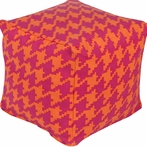 Playhouse Houndstooth Pouf in Hot Pink