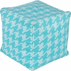 Playhouse Houndstooth Pouf in Sky Blue