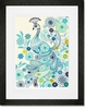 Plumes and Blooms Blue Framed Art Print