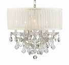 Polished Chrome Steel Chandelier with Hand Polished Crystals with Shade