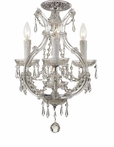 Polished Chrome Steel Mini Chandelier with Hand Polished Crystals