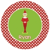 Polka Dot Elf Personalized Melamine Plate
