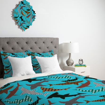 Polka Dot Sharks Duvet Cover