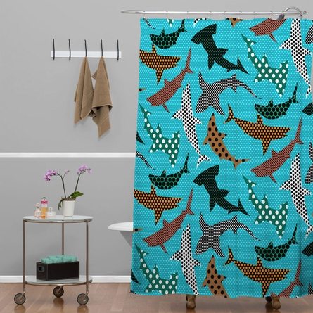 Polka Dot Sharks Shower Curtain