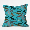 Polka Dot Sharks Throw Pillow