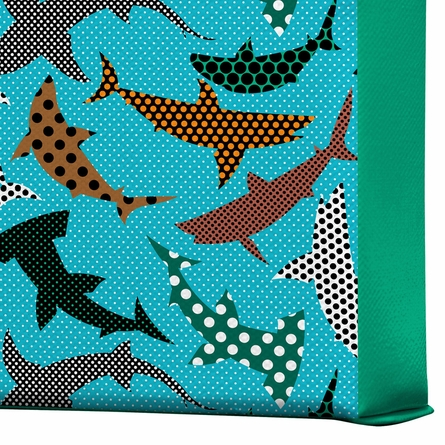 Polka Dot Sharks Wrapped Canvas Art