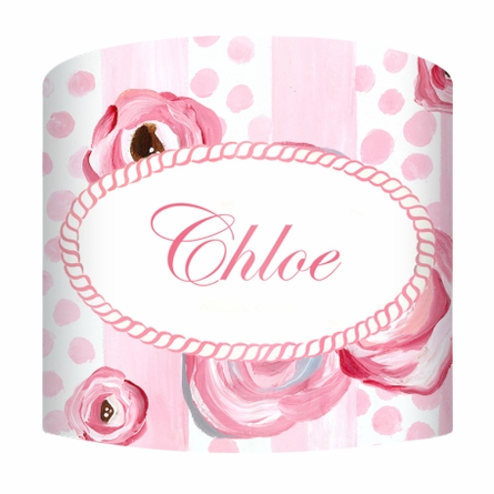 Polka Dots and Pink Roses Lamp