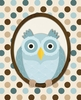 Polka Dots Owl in Blue Canvas Wall Art