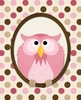 Polka Dots Owl in Pink Canvas Wall Art