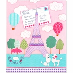 Poodles at the Eiffel Tower Postcard Canvas Wall Art