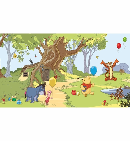 Pooh & Friends Chair Rail Prepasted Wall Mural