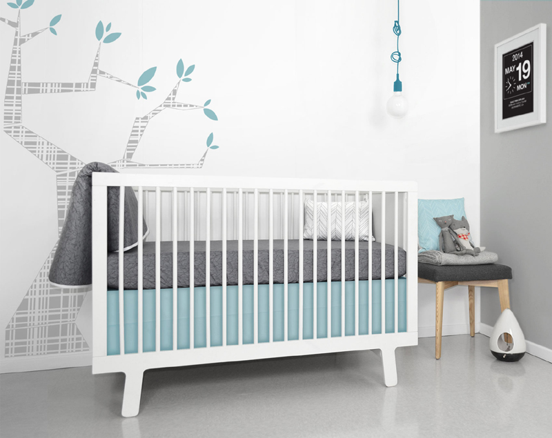 pool blue cotton linen crib skirt by olli lime