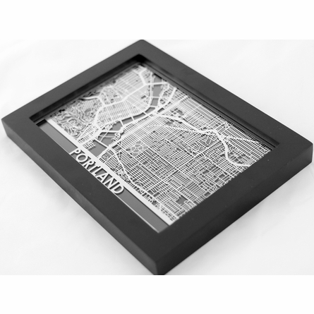 Portland Stainless Steel Framed Map