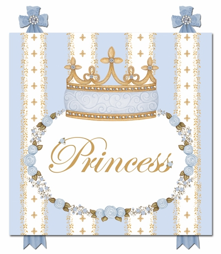Posh Princess Crown Personalized Canvas Art in French Blue