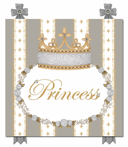 Posh Princess Crown Personalized Canvas Art in Gustavian Grey