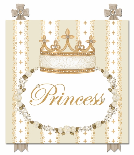 Posh Princess Crown Personalized Canvas Art in Ivory Bisque