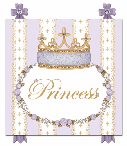Posh Princess Crown Personalized Canvas Art in Lovely Lavender