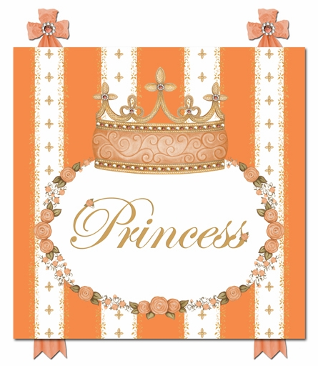 Posh Princess Crown Personalized Canvas Art in Marigold Orange