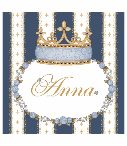 Posh Princess Crown Personalized Canvas Art in Royal Blue