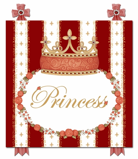 Posh Princess Crown Personalized Canvas Art in Ruby Red