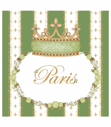 Posh Princess Crown Personalized Canvas Art in Versailles Sage