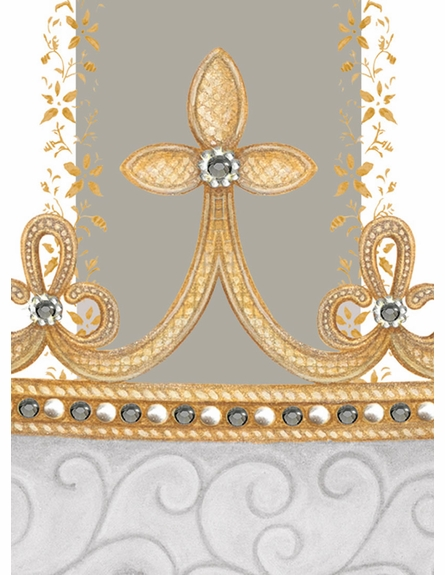 Posh Princess Crown Personalized Wall Hanging in Gustavian Grey