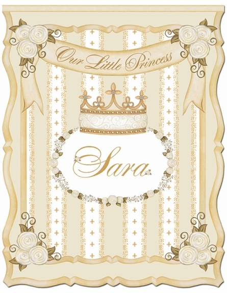 Posh Princess Crown Personalized Wall Hanging in Ivory Bisque