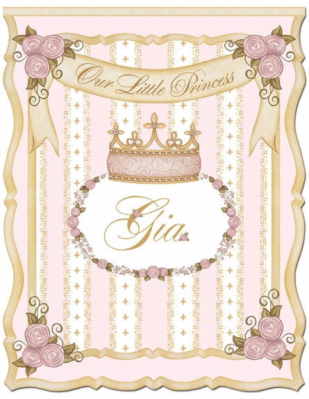 Posh Princess Crown Personalized Wall Hanging in Posey Pink