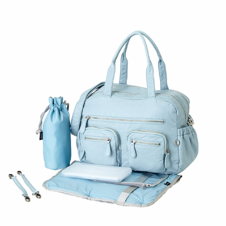 Powder Blue Faux Lizard Carry All Diaper Bag