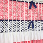 Preppy Coral and Navy Crib Bumper