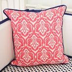 Preppy Coral and Navy Square Throw Pillow