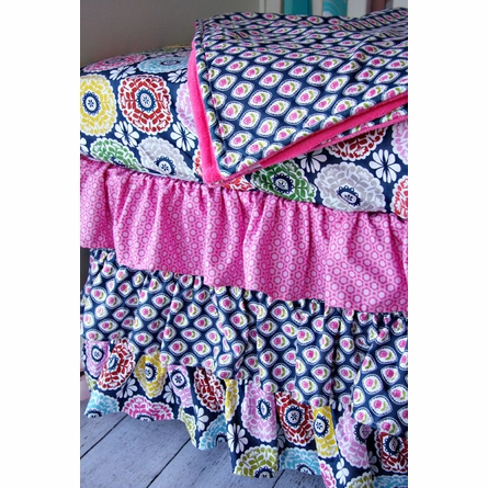 Preppy Pink Bumper Free Crib Bedding Set