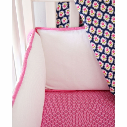 Preppy Pink Flower Crib Sheet