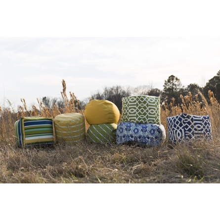 Preppy Stripes Pouf in Blue and Green