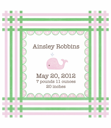 Preppy Whale Canvas Birth Announcement in Coral and Kelp
