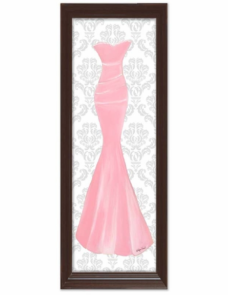 Pretty in Pink with Damask Background Canvas Reproduction
