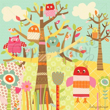 Pretty Owls Canvas Wall Art
