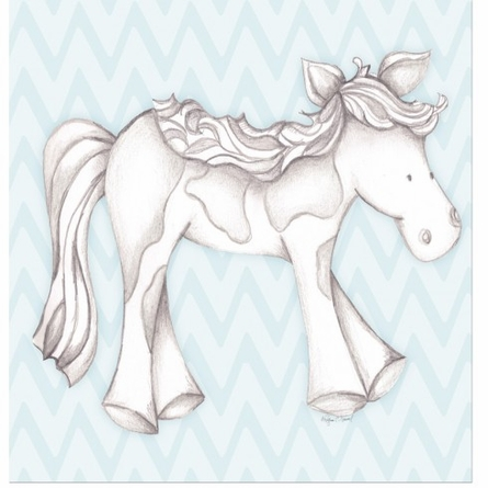 Princess Pony in Blue Canvas Reproduction