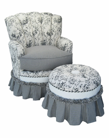 Princess Rocker Glider Chair - Toile Black