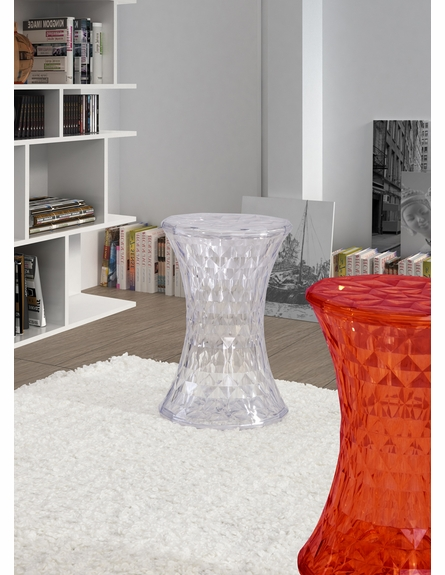 Prisma Stool in Transparent Red