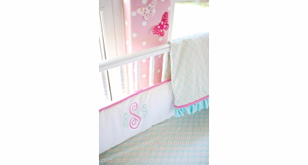 Pucker Up in Aqua Crib Sheet