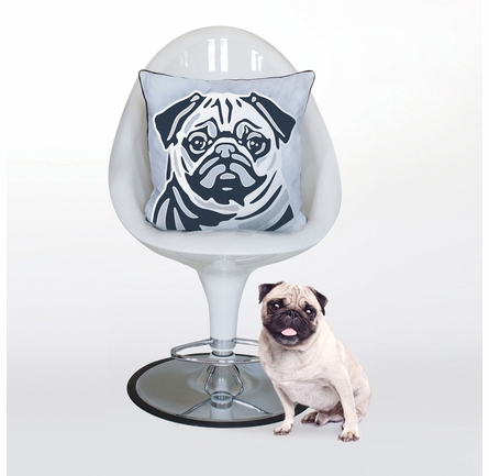 Pug Reversible Throw Pillow