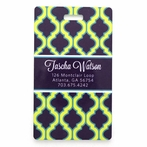 Purple and Chartreuse Quatrefoil Personalized Luggage Tag Set