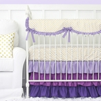 Purple and Gold Dot Ruffle Crib Bedding Set