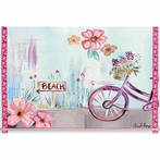 Purple Beach Bike Canvas Wall Art